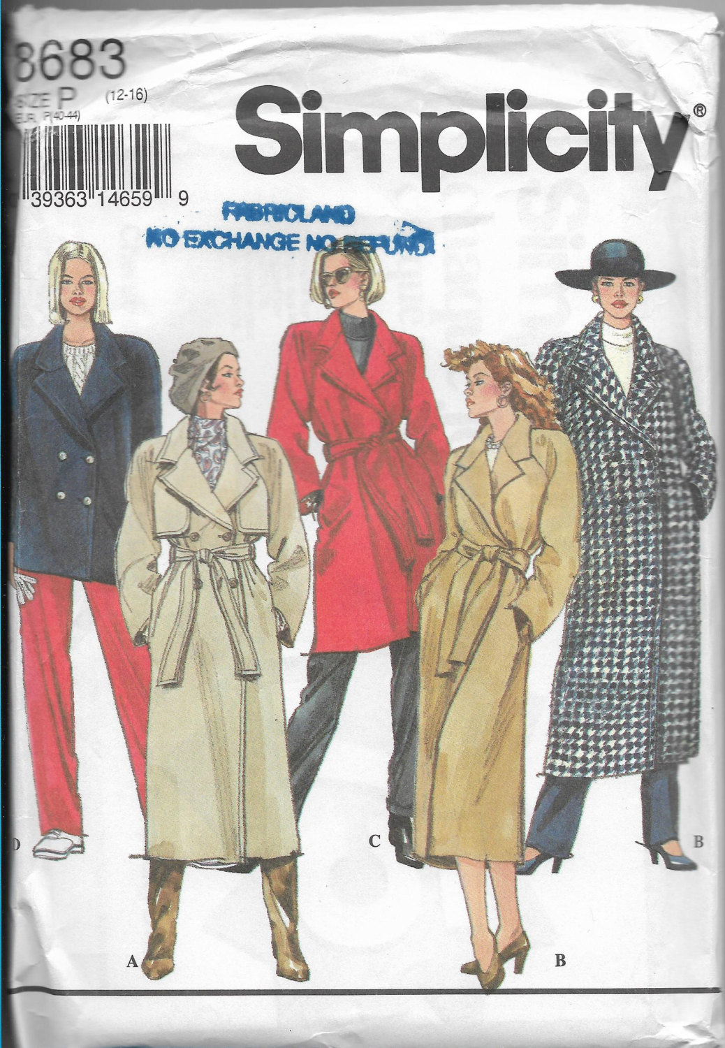 Simplicity 8683 Women Lined Coat Three Length Belt Double Breasted Raglan Sleeve