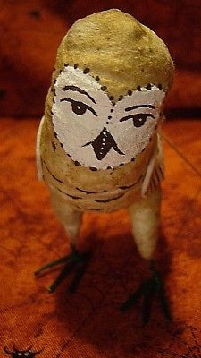 VINTAGE INSPIRED spun cotton ornament Barn Owl No. 63 Autumn Fall Halloween