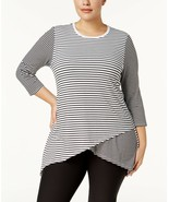Calvin Klein Performance Plus Size Striped Crossover Tunic, Size 3X, MSR... - $26.64