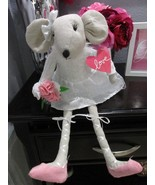"Valentines Ballerina Mouse Fabric Shelf Sitter Girl Doll Decor 20"" - $27.99"