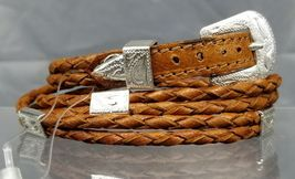 Brown HATBAND Braided DEERSKIN LEATHER with Silver CONCHOS Cowboy Hat Ba... - $21.23