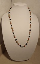 "Vintage Style Mixed Color Jade Jadite beaded Strand Necklace 29"" 14K Gol... - $199.99"