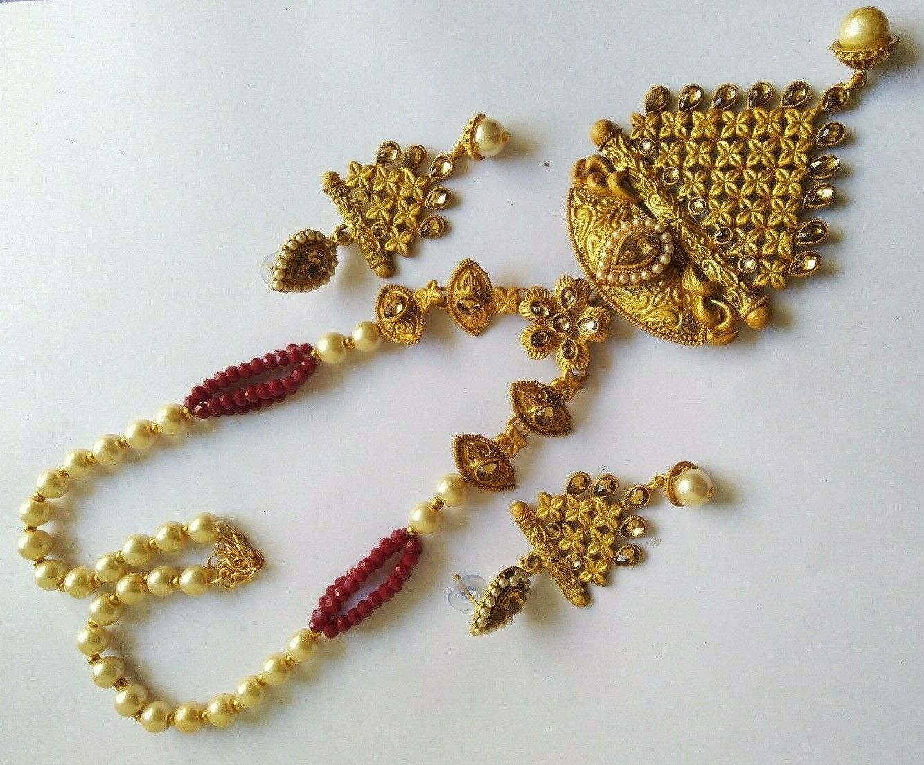 Indian Maroon Pearl Necklace Earrings Set Micro Gold Plated Fashion Jewelry image 2