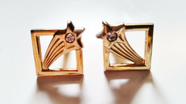 VINTAGE CUFF LINKS GOLD PLATED SHOOTING STAR WITH STONE BY SWANK - $14.00