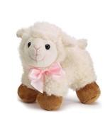 Plush Lamb Stuffed Animal with Pink Satin Bow - $12.95