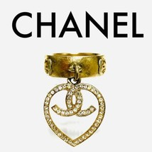 CHANEL Heart COCO CC Logo Gold Ring Rhinestone Hanging Engraved Vintage ... - $530.00