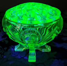 Sowerby English Vaseline Art Deco Glass Posy Bowl & Frog Set 30's Rare E... - $182.33
