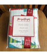 Merry & Bright Holly Jolly Tree King Cotton Quilted Pillow Shams Set Of ... - $39.60