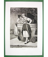 LOVELY MAIDENS at Water Well Engagement Ring - Victorian Era Antique Print - $22.95