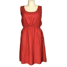Ann Taylor LOFT Dress 12 Large Burnt Orange Red 2 Zip Pocket Elastic Was... - $16.95