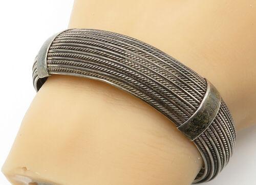 925 Sterling Silver - Vintage Twist Detailed Round Cuff Bracelet - B6222