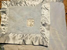 Little Giraffe Baby Blanket Satin Trim Edge Plush Solid Light Blue  - $24.73