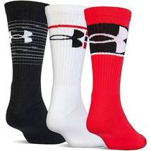 Under Armour Men's Training Crew Socks 3 Pair (Large, Volcano (838) /Whi... - $22.99