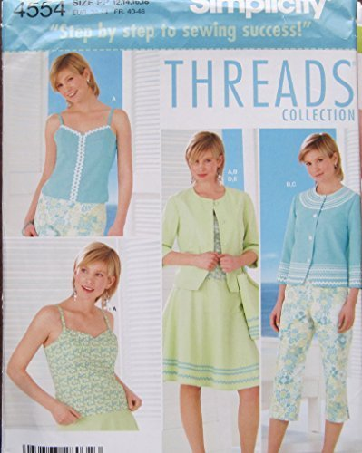 SIMPLICITY PATTERN 4554 MISSES/MISS PETITE TOP, JACKET, SKIRT, CAPRI PANTS AND B