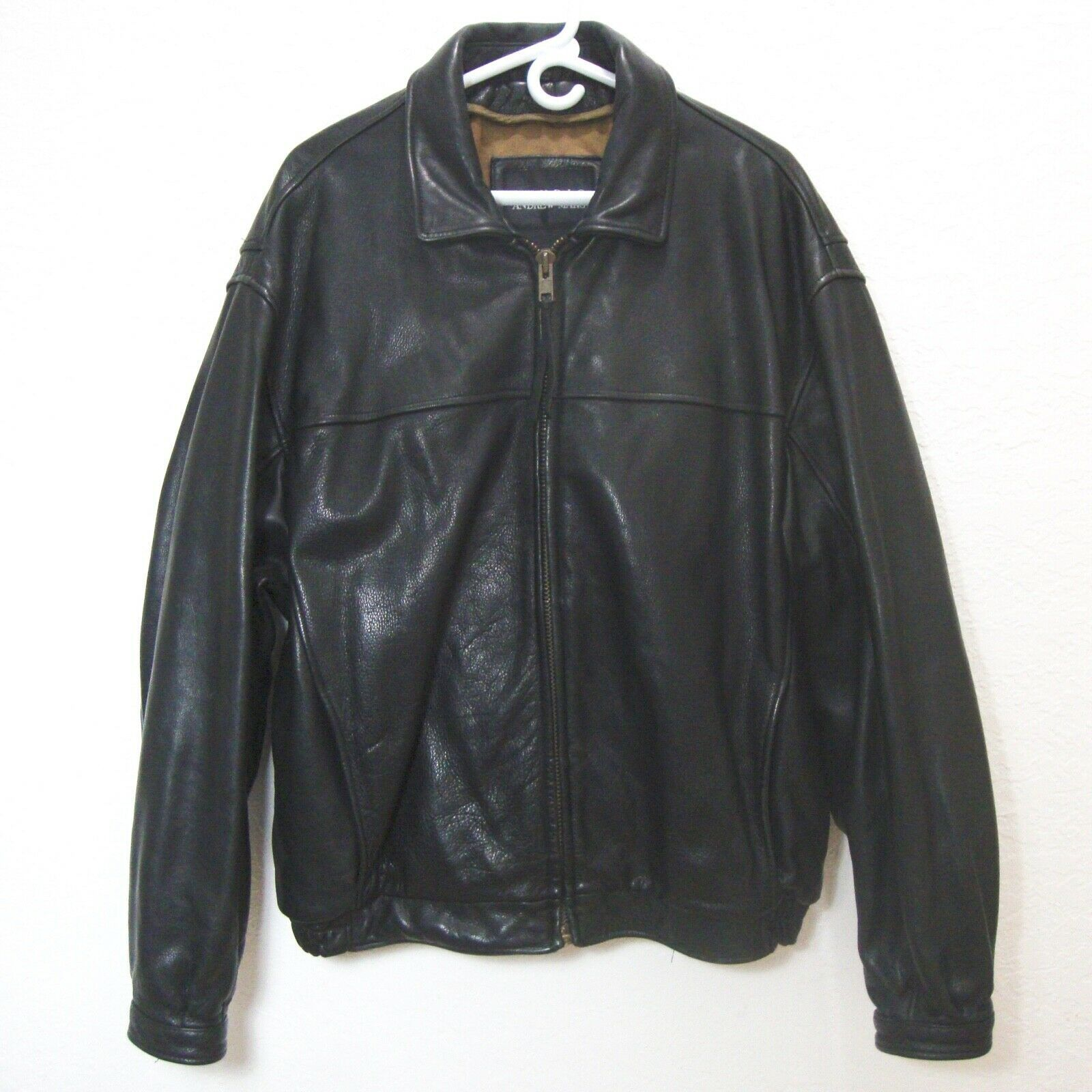 ANDREW MARC Black Leather Bomber Jacket Distressed Lined Zip Up Motorcycle XL