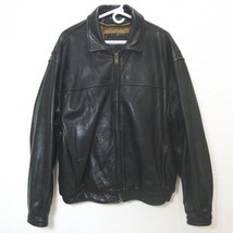 ANDREW MARC Black Leather Bomber Jacket Distressed Lined Zip Up Motorcycle XL image 1