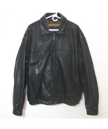 ANDREW MARC Black Leather Bomber Jacket Distressed Lined Zip Up Motorcyc... - $262.35