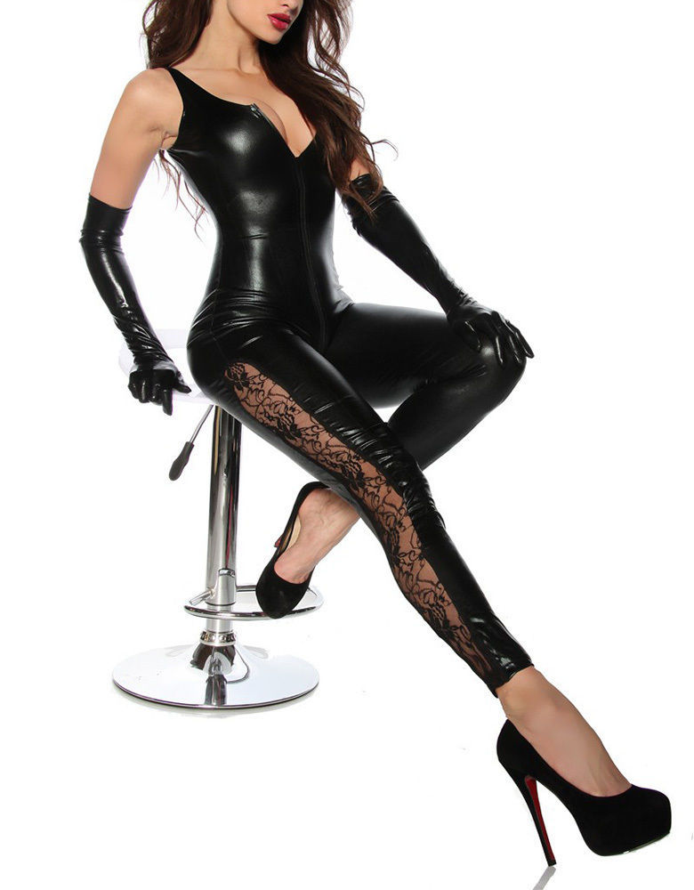 Women Sexy Black Faux Leather Wet Look Bodysuit Catsuit Jumpsuit for sale  USA