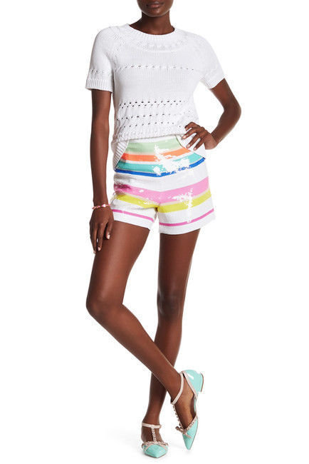 Primary image for Kate Spade Cape Strip Sequin Mini/Short Shorts  0 MSRP: $325.00