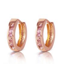 1.3 CTW 14K Solid Rose Gold Hoop Huggie Earrings Pink Sapphire - $212.61