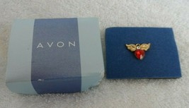 Tiny Angel Birthstone pin, tie tack , red stone for July from Avon - $6.95