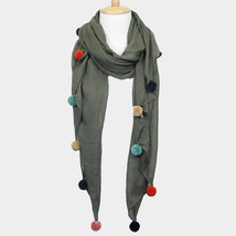 Olive Green Solid Oblong with Multi Colored Pom Pom Scarf 353052 - €17,35 EUR