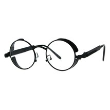 Side Cover Clear Lens Glasses Steampunk Fashion Small Round Frame - $10.95