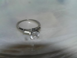 Vintage Hallmarked Thin Silver Band with Prongset Round Clear Rhinestone... - $12.19