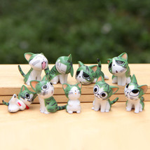 SA set 9pcs green cats Multi Color Small Cute Chi The Cat Figures Emotic... - $39.00