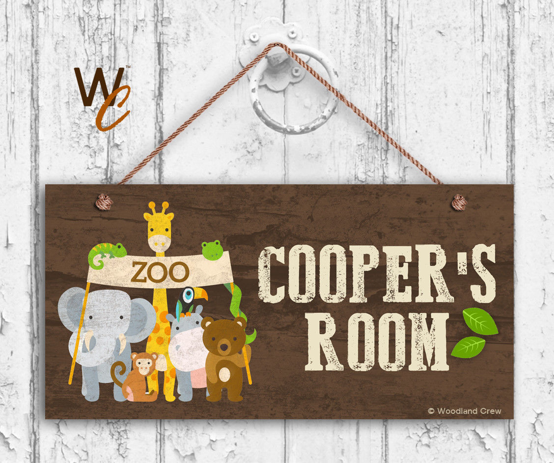 Zoo Animals Sign, Personalized Sign, Kid's Name, Kids Door Sign, 5x10 Sign