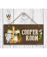 Zoo Animals Sign, Personalized Sign, Kid's Name, Kids Door Sign, 5x10 Sign - $16.29