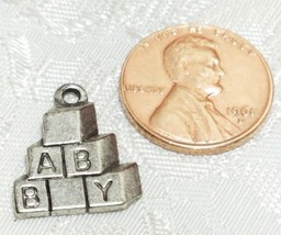 BABY BLOCKS FINE PEWTER PENDANT CHARM - 15x18x2mm image 2