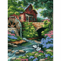"""NIP Dimensions Old Mill Cottage Needlepoint Kit-12""""X16"""" UNOPNED FREE SHIP - $24.70"""