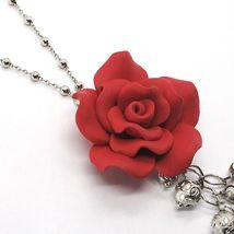 Collier Argent 925, Onyx Noir, Rose Rouge, Fleur, Chaîne Billes image 4