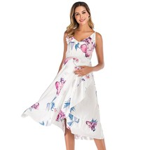 Maternity's Dress V Neck Floral Print Asymmetric Slip Dress - $26.99