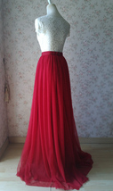 "RED Tall Maxi Tulle Skirt Women Extra Long Tulle Skirt Red Bridesmaid Outfit 51"" image 4"