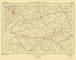 Great Smoky Mountains National Park Quad - USGS 1950 - 21.63 x 17 - $36.95+