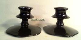 Depression Era Black Glass Candle Holders Pair Scallop Flange Base Candl... - $19.99