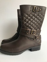 Anne Klein Womens Callforth Quilted Leather Moto Boots Brown size 8M Brown NWOB - $41.80