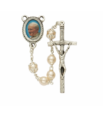 PEARL BEADS AND POPE JOHN PAUL II PHOTO CENTER ROSARY CROSS CRUCIFIX - $37.99