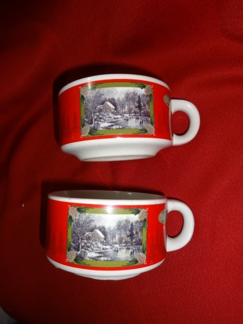 CURRIER AND IVES soup mugs