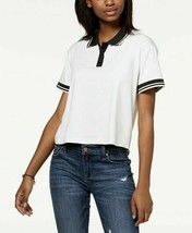 Almost Famous Top Juniors Striped Contrast Polo White T-Shirt Womens Small - $7.99