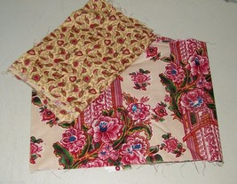 2 Quilting Cotton 1/4 Yard Cuts FLoral Retro 16652 - $6.88