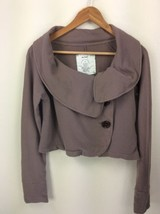 Anthropologie Allihop Brown Button Cardigan Sweater Cropped Womens Medium - $22.43