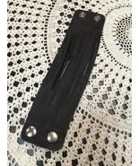 100% Leather Bracelet Handmade in South San Francisco Slotted Black strips - $4.26