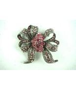 Vintage Jewelry Brooch Pink Rhinestone Silver Tone Ribbon Bow - $16.80