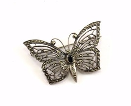 Vintage Beautiful Butterfly Marcasite Pin/Brooch 935 Sterling BB 242 - $20.15