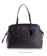 Coach Women's Signature Drawstring Carryall Shoulder Bag (Sv/Black Smoke... - $145.85
