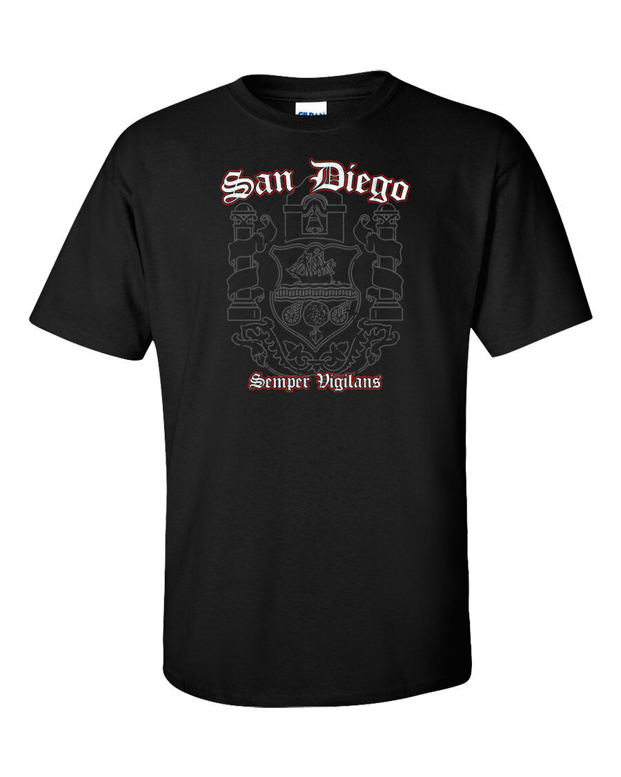 San Diego T-Shirt Flag California CA USA Seal Palms Beach Surf Summer Men Tee