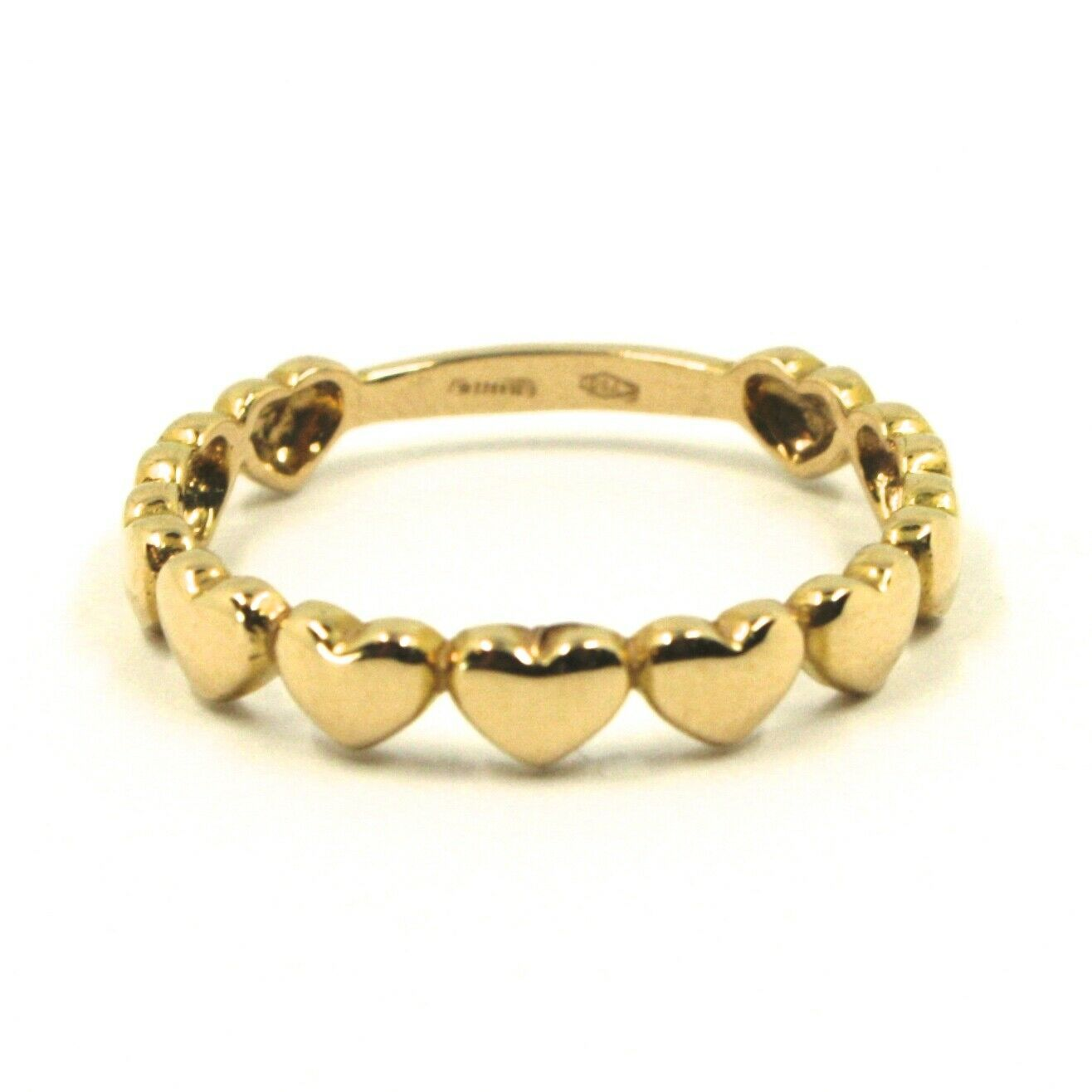 SOLID 18K YELLOW GOLD BAND RING, ROW OF ROUNDED HEARTS, HEART, MADE IN ITALY
